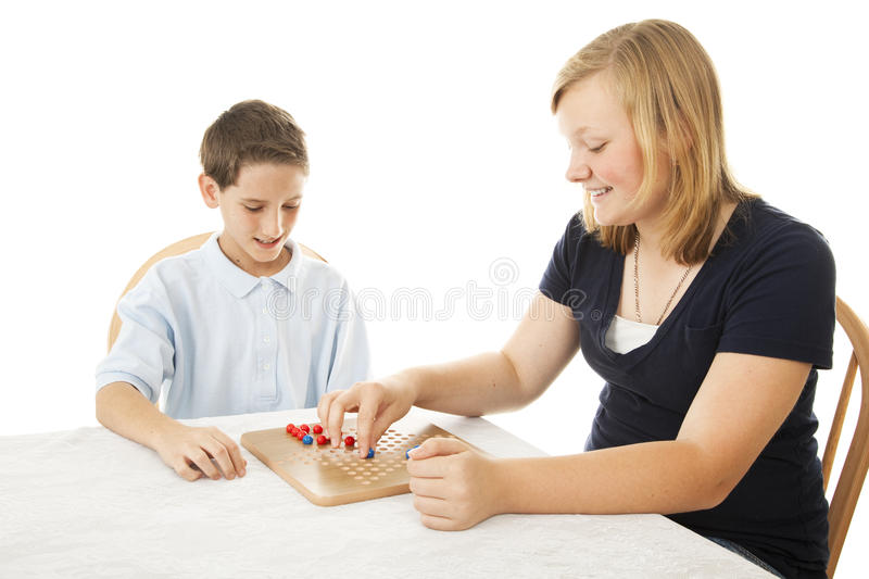 Download Kids Play Board Game stock image. Image of siblings, white - 14388941