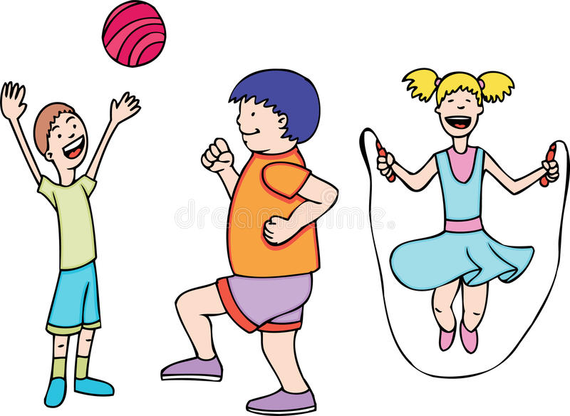 Kids Play and Exercise stock vector Illustration of exercising