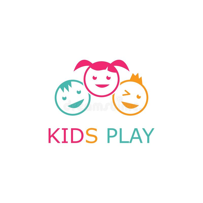 Kids play logo. Vector template, people, human, person, group, business, icon, symbol, design, abstract, illustration, baby, concept, team, teamwork, together stock illustration