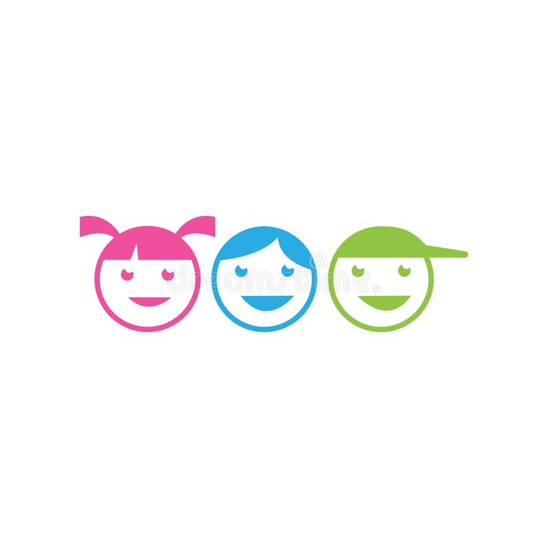 Kids play logo. Vector template, people, human, person, group, business, icon, symbol, design, abstract, illustration, baby, concept, team, teamwork, together vector illustration