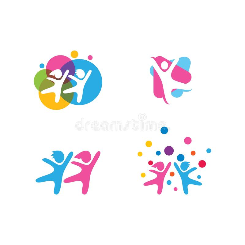 Kids play logo. Vector template, people, human, person, group, business, icon, symbol, design, abstract, illustration, baby, concept, team, teamwork, together royalty free illustration