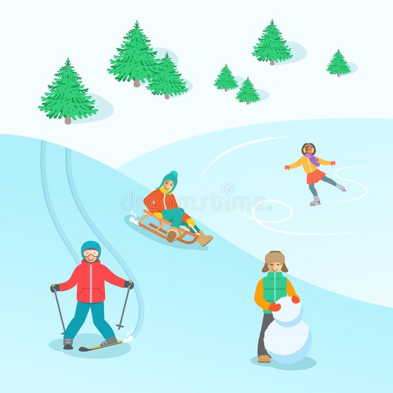 Kids Play Outdoor Winter Games Vector Background Stock