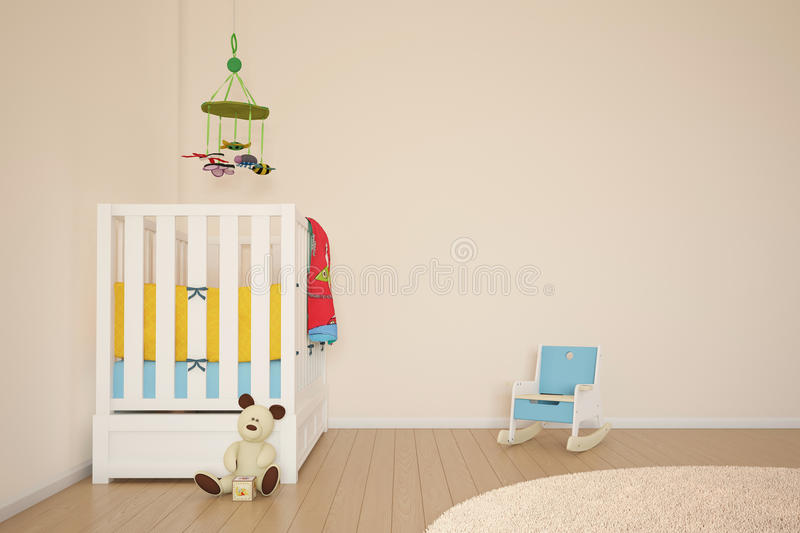 Kids play room with bed vector illustration