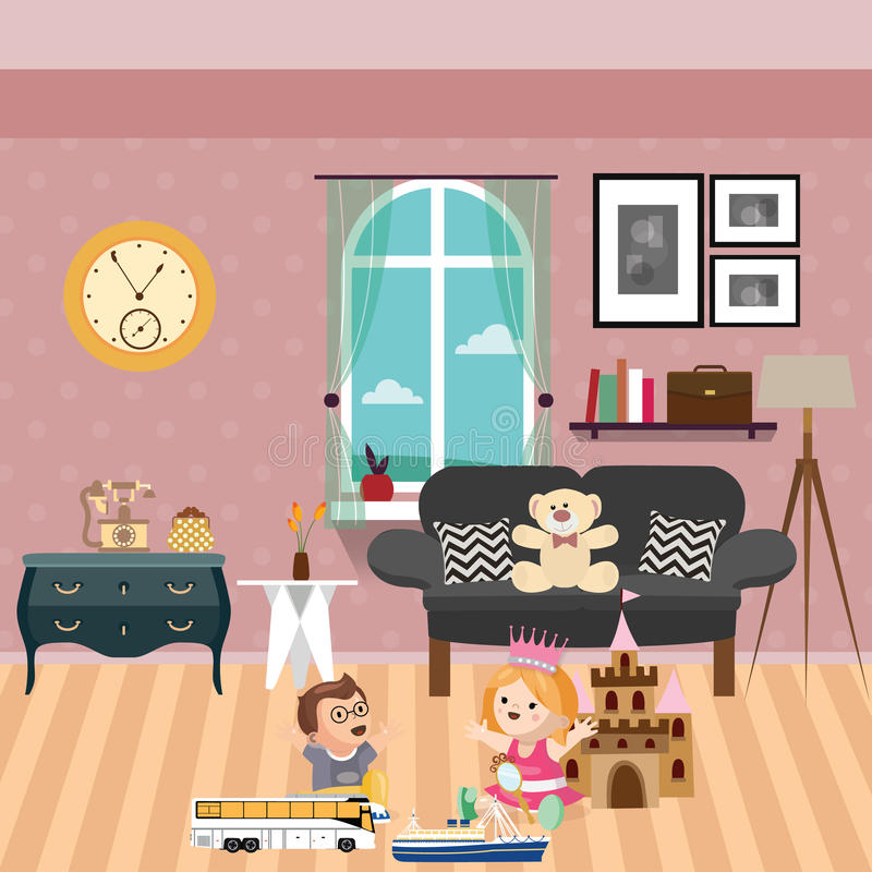 Kids Play In Room With Lot Of Toys And Dolls Sofa Behind Stock ...