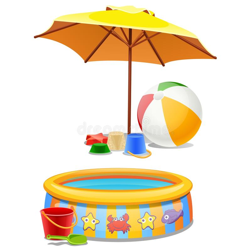 Kids play set under the sun or on the beach isolated on white background. Vector cartoon close-up illustration. stock illustration
