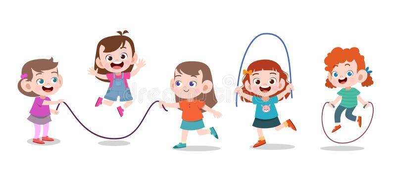 Kids play together vector illustration. Cute, happy, children, boy, boys, girl, girls, fun, kinder, kindergarten, jump, funny, character, people, toy vector illustration