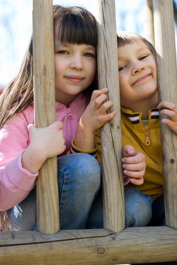 Kids on a playground royalty free stock images