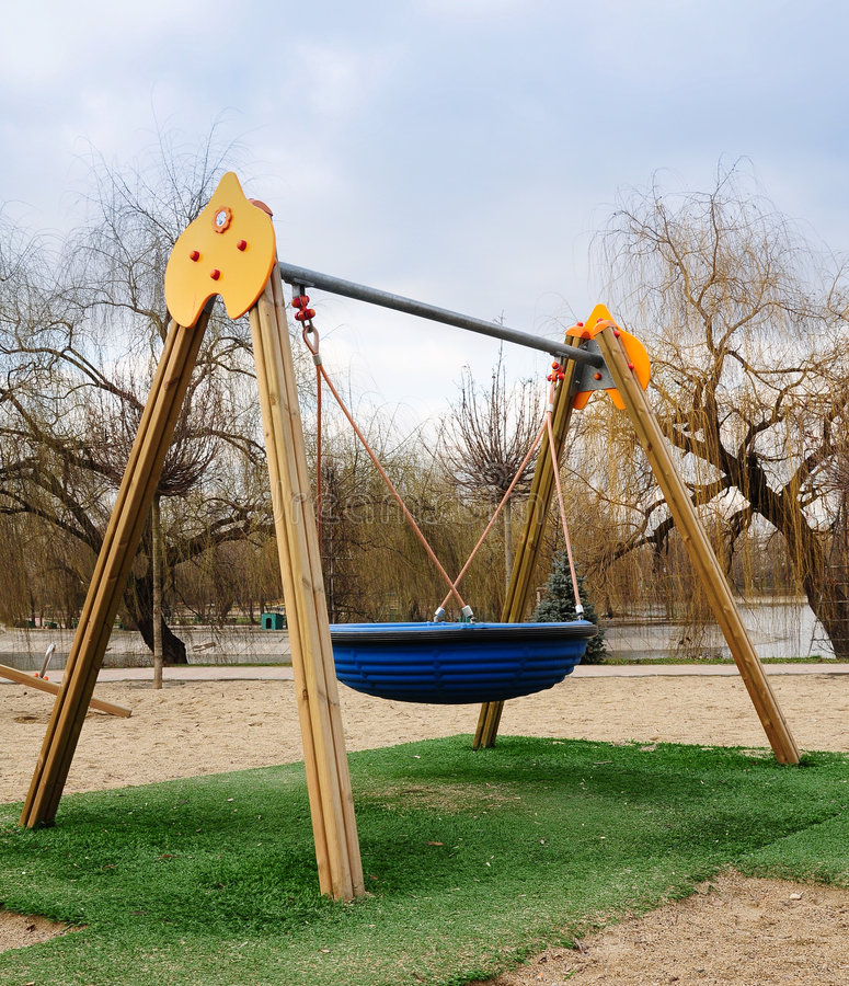 Kids playground. A colorful kids playground with various slides in a park stock photography