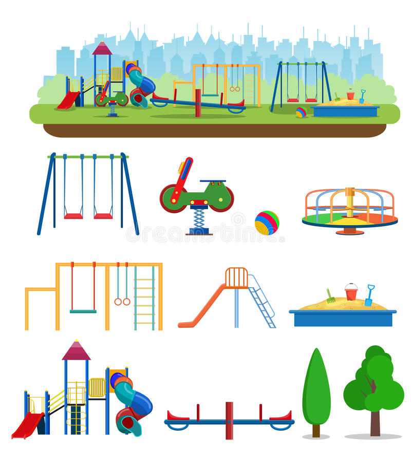 Kids playground. Buildings for city construction. stock illustration