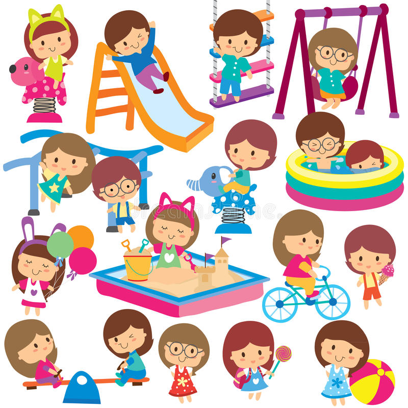 kids at playground clip art set stock vector illustration of rh dreamstime com playground clip art images playground clipart png