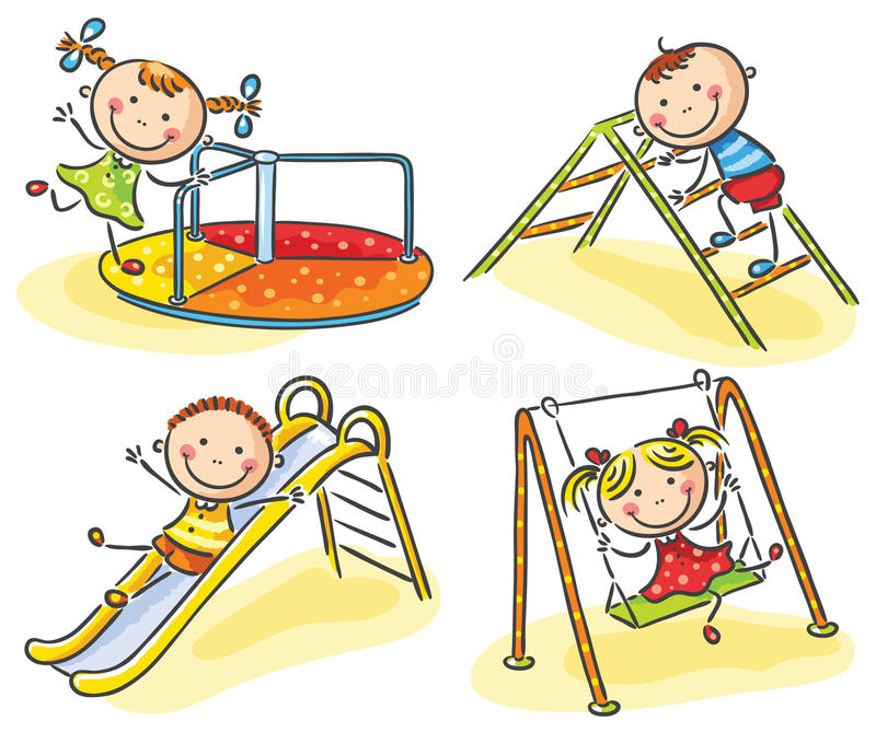 Kids on playground royalty free illustration