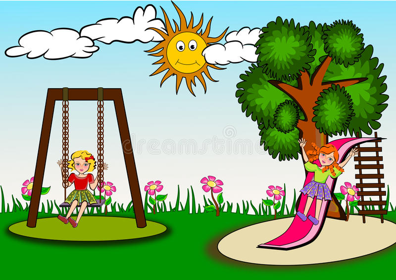 kids in the playground stock illustration illustration of cheerful rh dreamstime com sunny fall day clipart sunny day clip art free