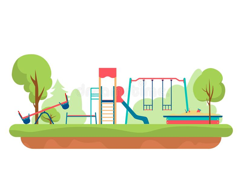 Kids playground with playing equipment in park. Outdoor public city kindergarten isolated on white background. Vector vector illustration