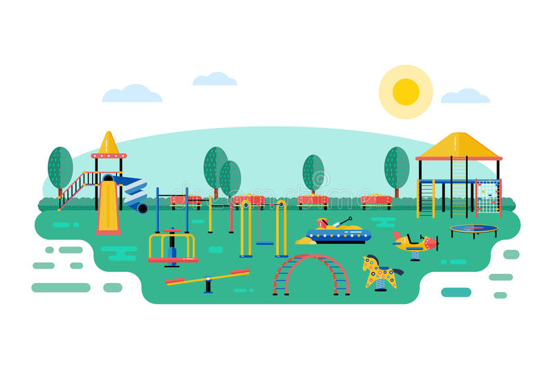 Kids playground vector landscape in flat design. Children play a stock illustration