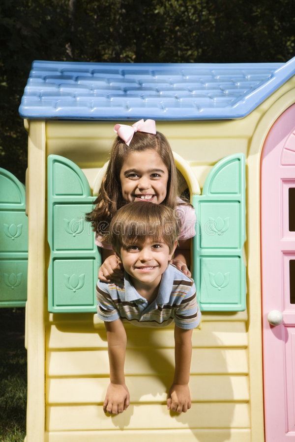 Download Kids in playhouse. stock image. Image of people, looking - 4246619