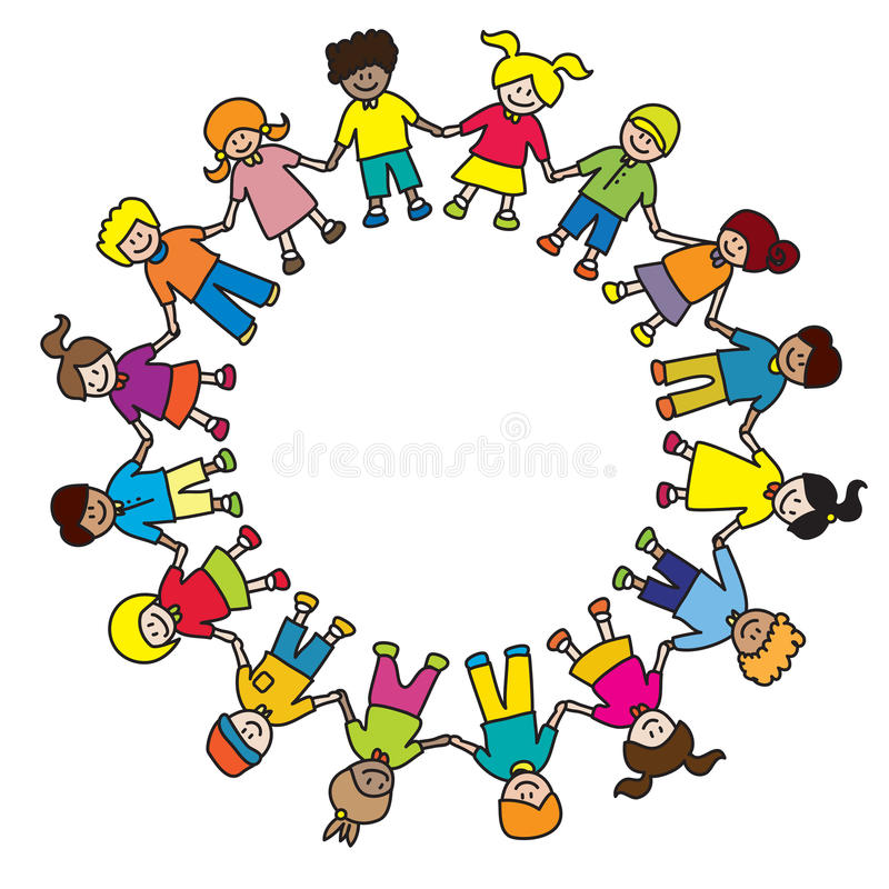 Kids playing. Kids diversity holding hands in circle illustration isolated on white background with copy space vector illustration