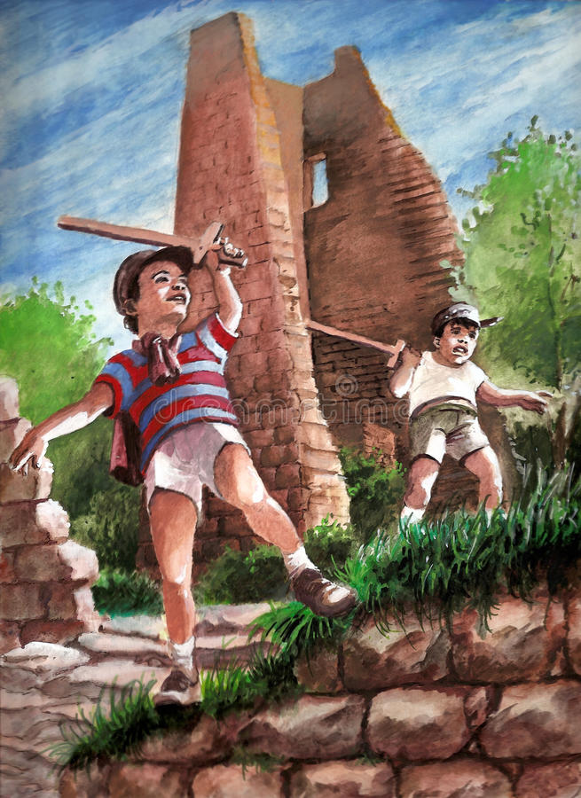 Kids playing. Original gouache painting of kids playing as knights in the middle of castles ruins vector illustration