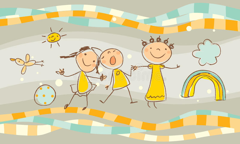 Kids playing. Happy kids playing and nature elements drawing stock illustration