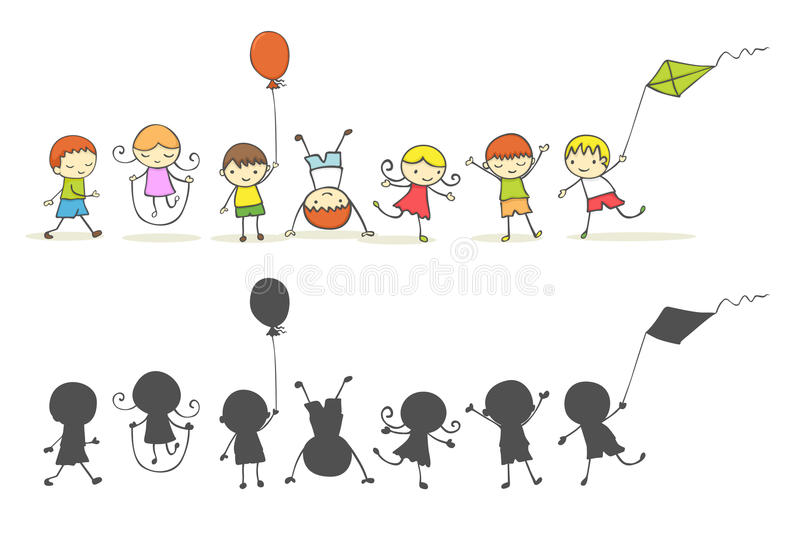 Kids Playing. Cute cartoon kids playing, silhouette version included royalty free illustration