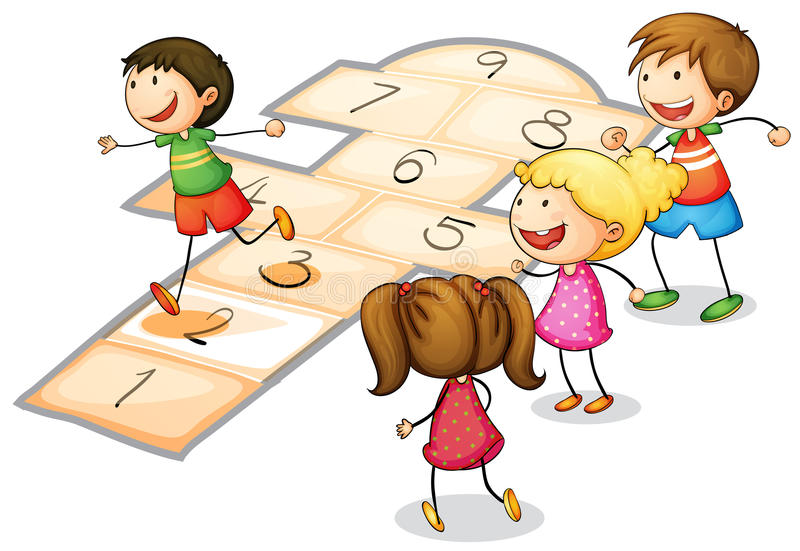 Kids playing stock illustration