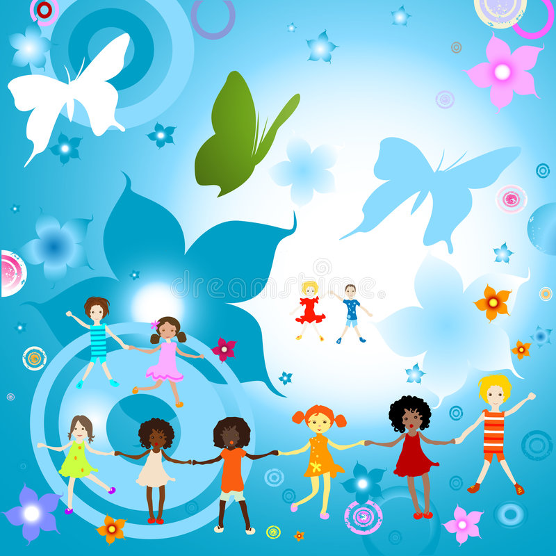 Kids playing. Group of kids on abstract background with flowers and butterflies