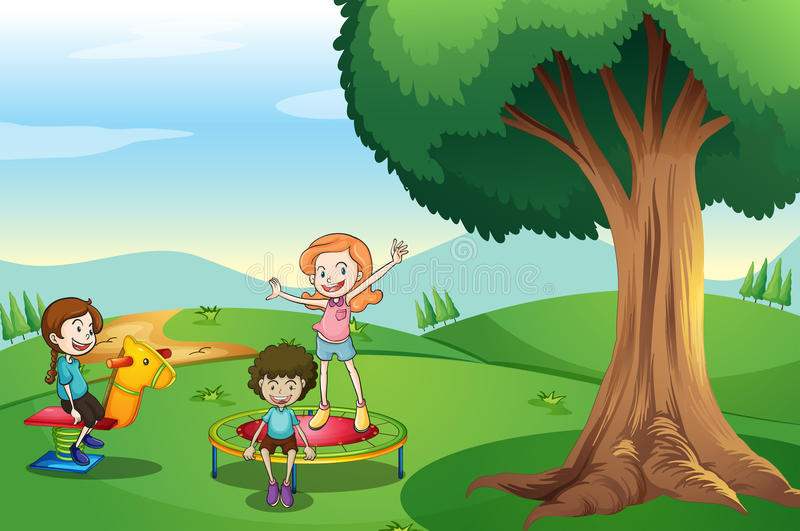 Kids playing above the hills vector illustration