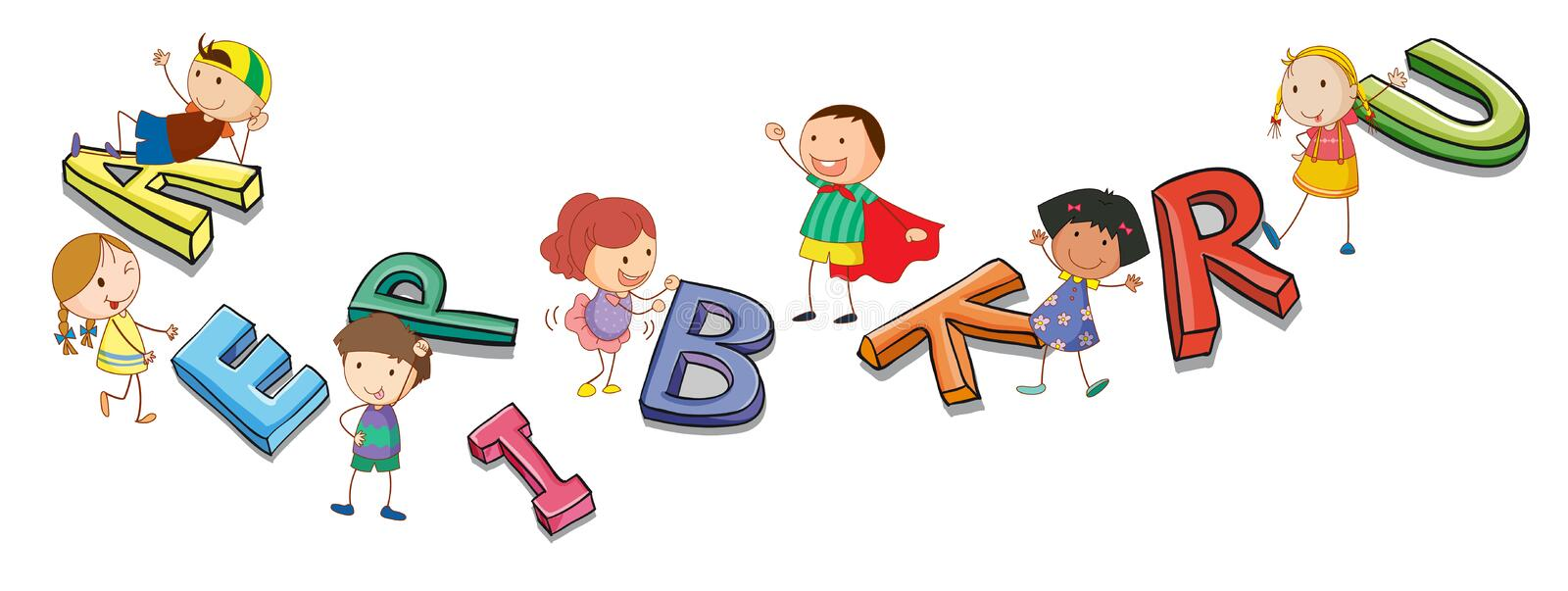 Kids playing with alphabets. Illustration of a kids playing with alphabets stock illustration