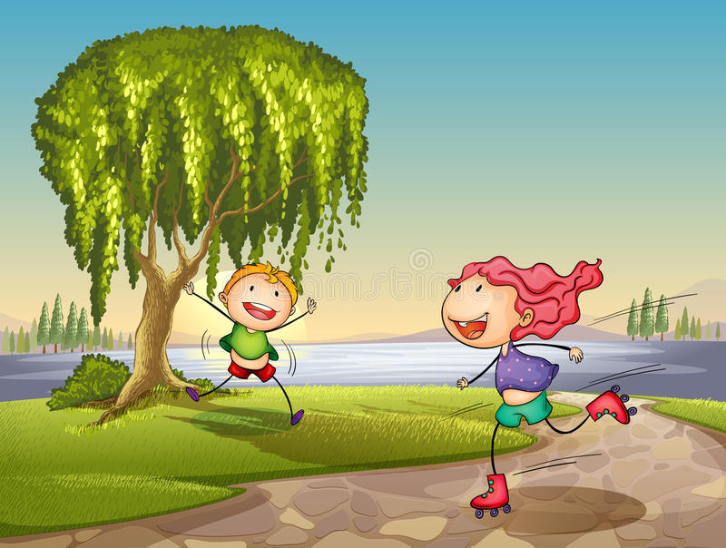 Download Kids playing around tree stock vector. Illustration of outdoors - 26941971