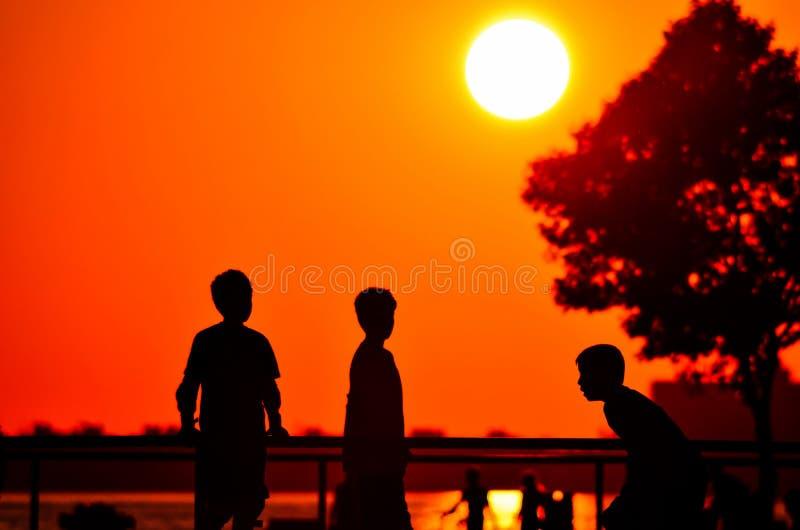 Turkey izmir revers light kids playing sunset golden hour royalty free stock photography