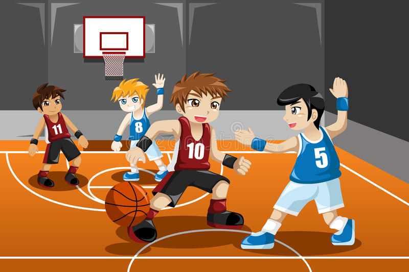 Kids playing basketball stock vector. Illustration of male ...