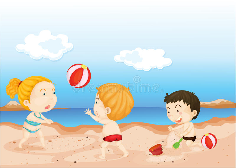 Download Kids Playing on Beach stock vector. Image of drawing - 14765295