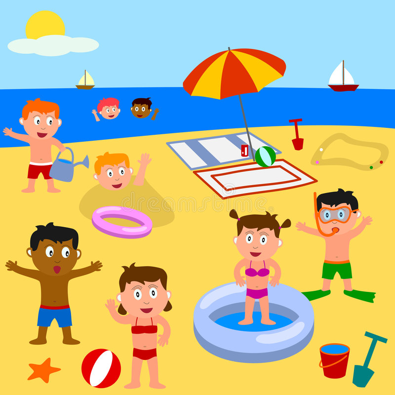 Kids Playing on the Beach vector illustration