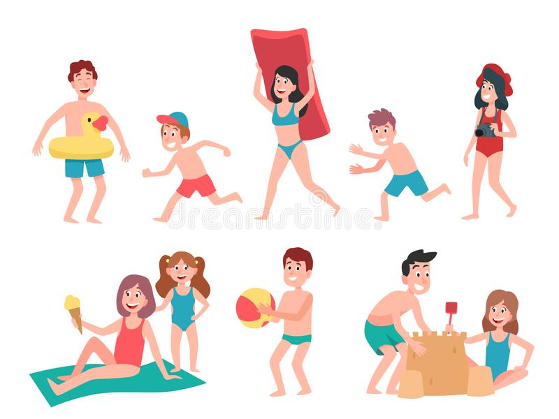 Kids playing at beach. Summer holiday vacation childrens, swimming and sunbathing kid cartoon vector illustration set. Kids playing at beach. Summer holiday stock illustration