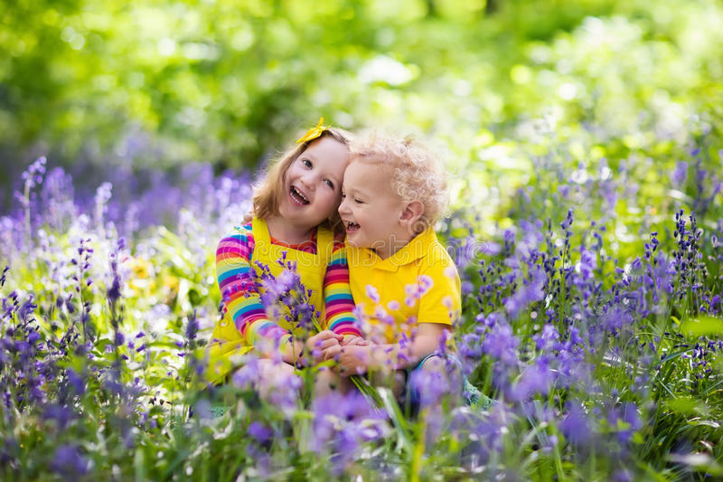 Kids playing in blooming garden with bluebell flowers. Kids gardening. Children play outdoors in bluebells meadow. Little girl and boy, brother and sister, work stock photography