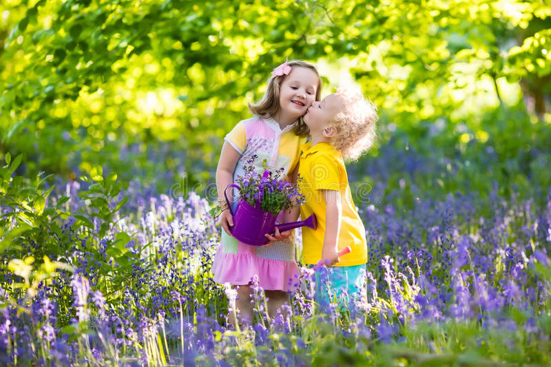 Kids playing in blooming garden with bluebell flowers. Kids gardening. Children play outdoors in bluebells meadow. Little girl and boy, brother and sister, work royalty free stock photos