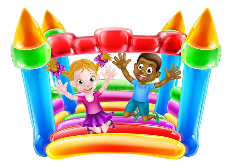Kids Playing on Bouncy Castle. Cartoon kids Jumping on a bouncy castle royalty free illustration