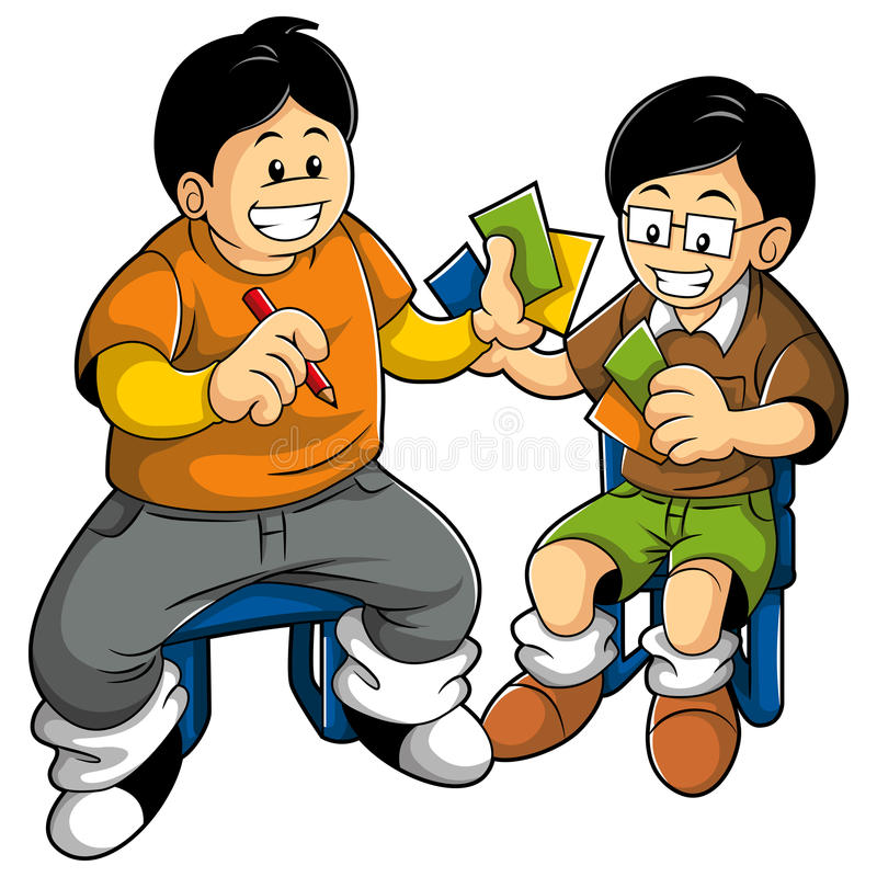 Kids playing card royalty free illustration