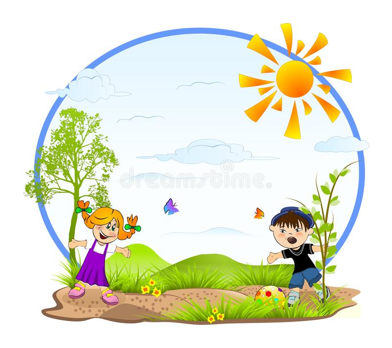 Kids Playing Stock Illustration Illustration Of Grass -5947
