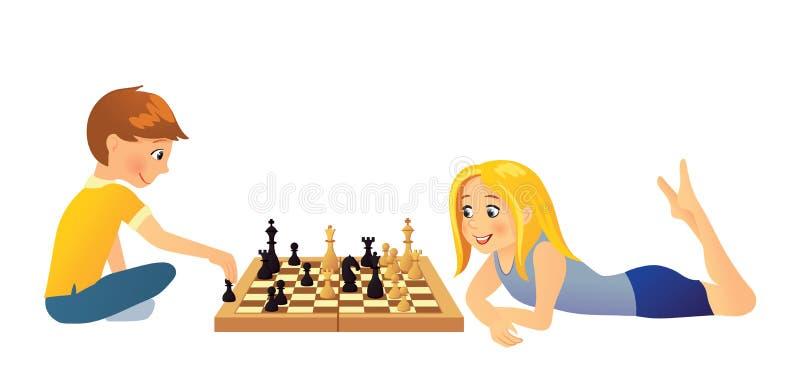 Kids playing chess royalty free illustration