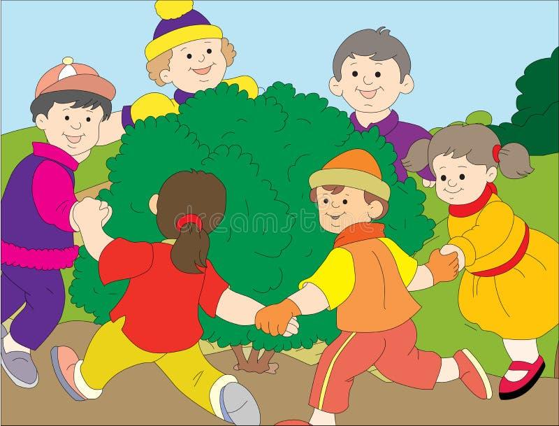 Kids playing circle stock illustration