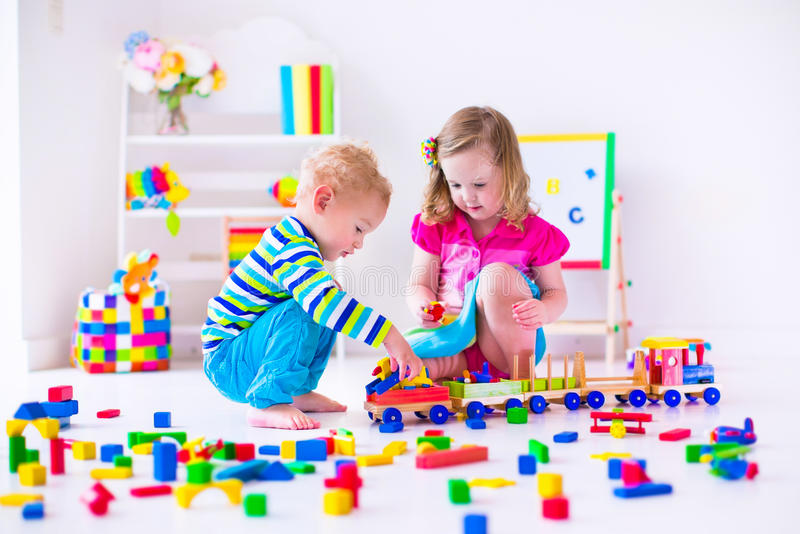 Kids playing at day care royalty free stock photography