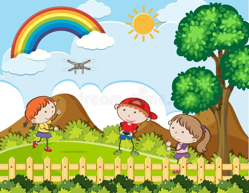 Kids Playing Drone on Sunny Day royalty free illustration