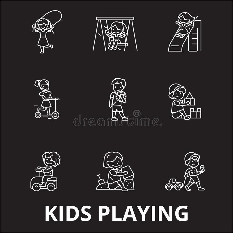 Kids playing editable line icons vector set on black background. Kids playing white outline illustrations, signs royalty free illustration