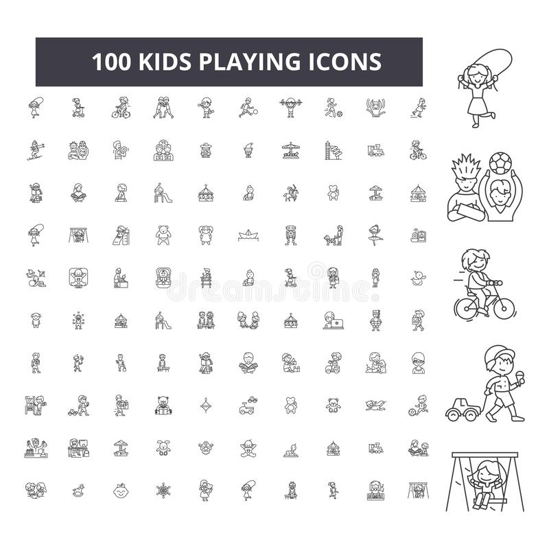 Kids playing editable line icons, 100 vector set, collection. Kids playing black outline illustrations, signs, symbols stock illustration