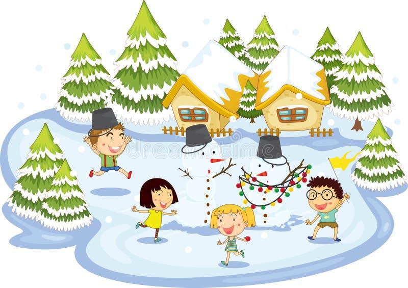 Kids playing on frozen lake stock images