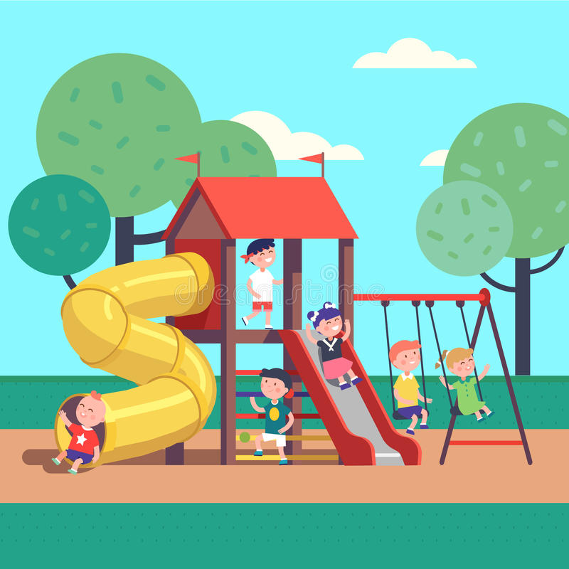 Kids playing game on a public park playground royalty free illustration