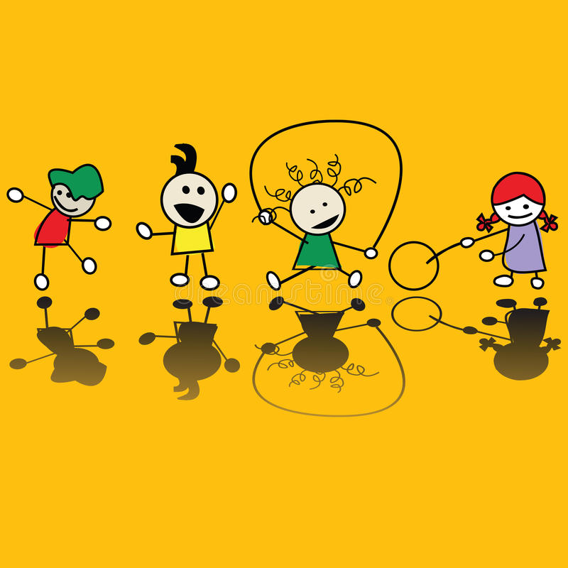 Kids playing games. Happy children playing games, vector art vector illustration