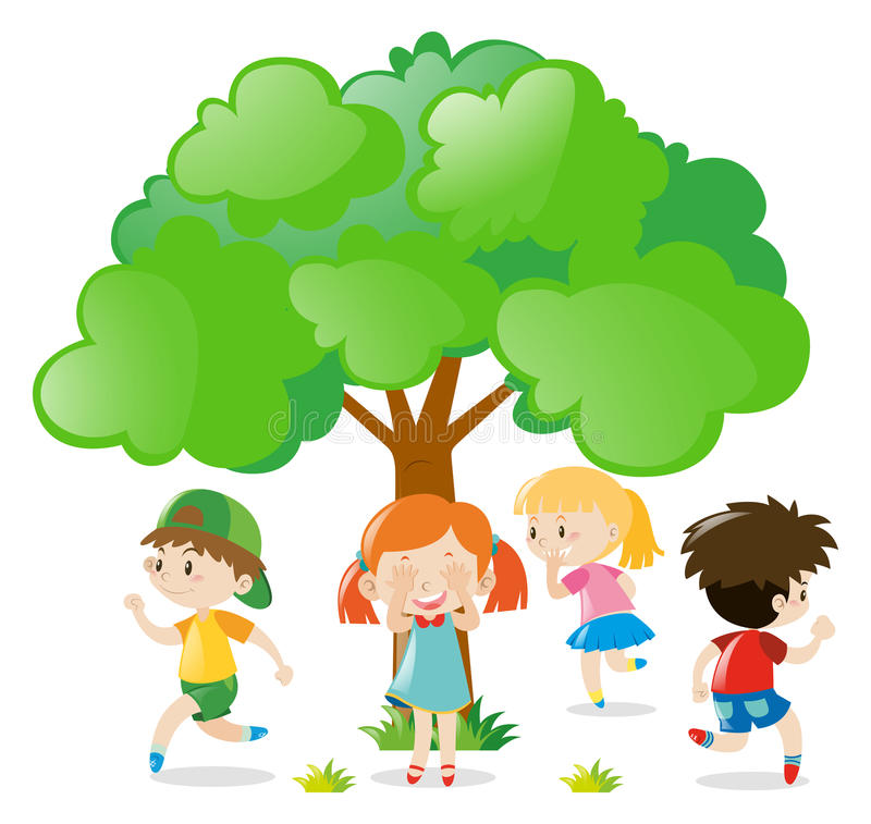 Free Kids Playing Hide And Seek In The Park Royalty Free Stock Photography - 81194467