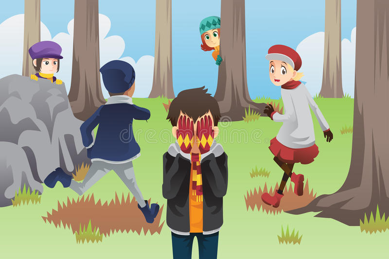 Kids playing hide and seek. A vector illustration of kids playing hide and seek in the park stock illustration