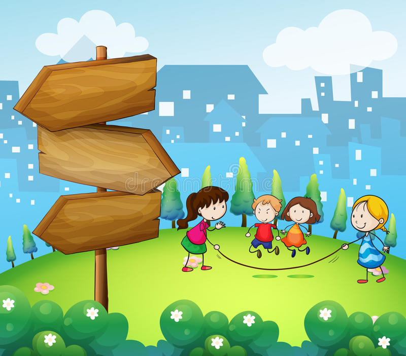 Download Kids Playing In The Hills With A Wooden Signboard Stock Vector - Image: 32711231
